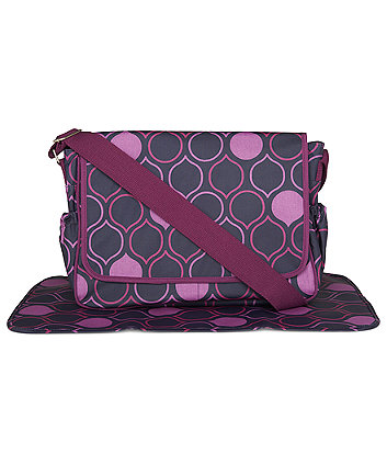 Mothercare Laminated Messenger Changing Bag- Drop Print