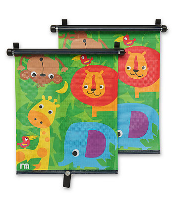 Mothercare Safari Retractable Car Sunblinds - 2 Pack