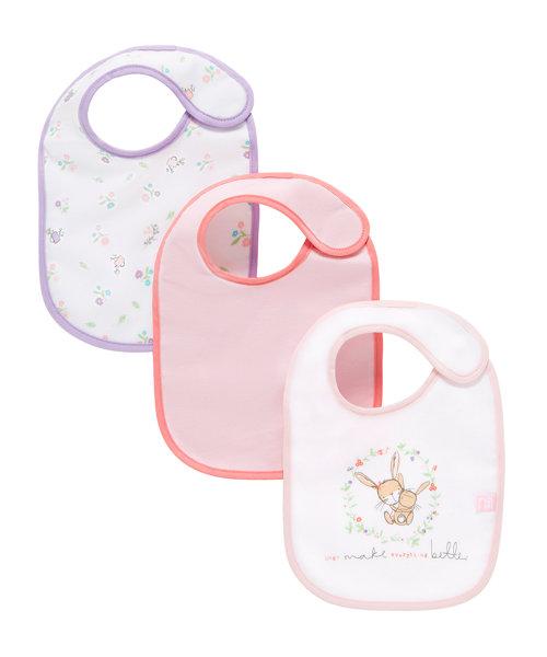 Mothercare Newborn Bunny Bibs - 3 Pack