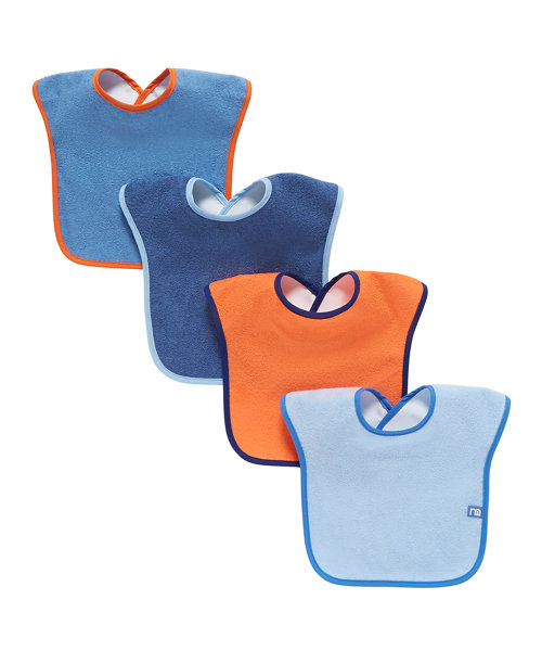 Mothercare Colour Block Towelling Bibs - 4 Pack