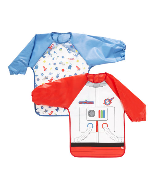 Mothercare Astronaut Coverall Bibs - 2 Pack