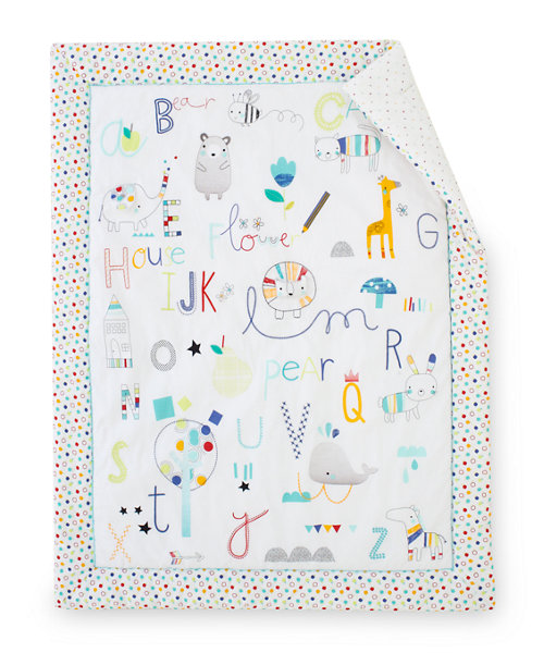 Mothercare Alphabet Brights Cot Bed Quilt