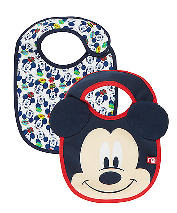 Mothercare Disney Mickey Mouse Bibs - 2 Pack