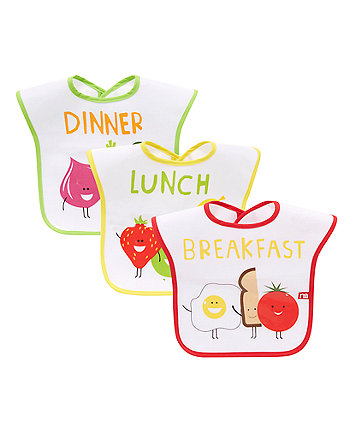 Mothercare Breakfast Lunch Dinner Bibs - 3 Pack