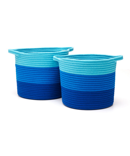 Blue Rope Storage Baskets - 2 Pack