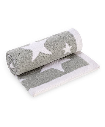 Mothercare Grey Star Chenille Knitted Blanket
