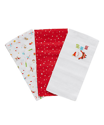 Mothercare Christmas Muslins - 3 Pack