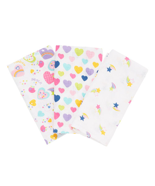 Mothercare Heart Muslins - 3 Pack