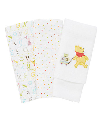 Mothercare Winnie the Pooh Muslins - 3 Pack