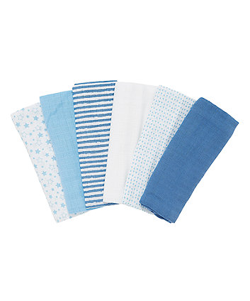 Mothercare Patterned Muslin Cloths - 6 Pack