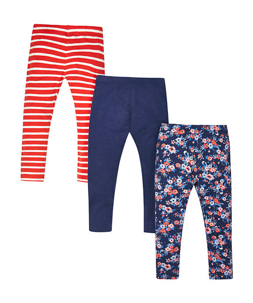 Floral, Striped and Navy Leggings - 3 Pack