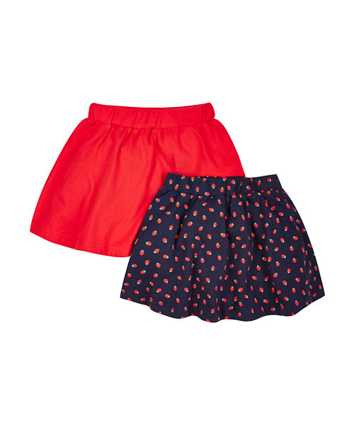 Strawberry and Plain Red Skirts - 2 Pack