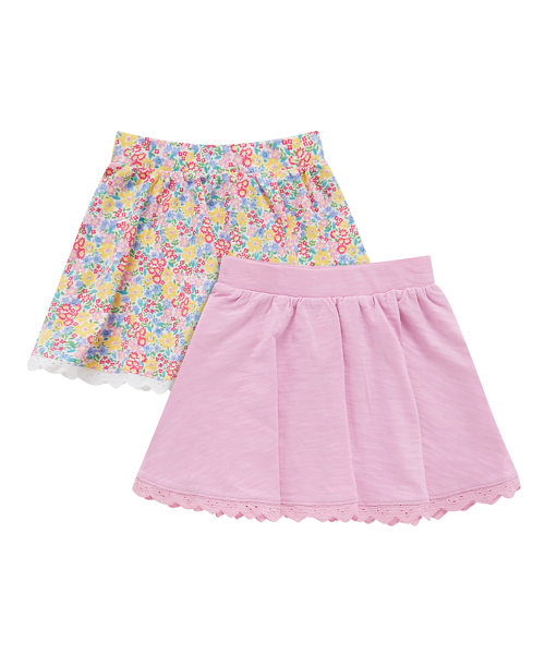 Pink and Floral Skirts -2 Pack