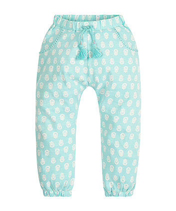 Turquoise All Over Print Hareem Trousers