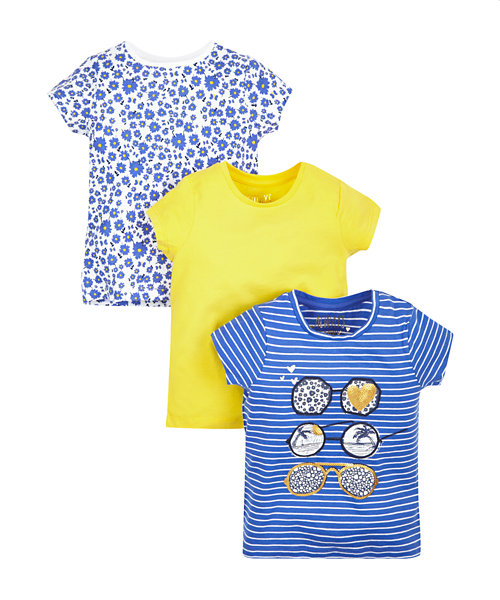 Floral, Yellow and Glasses T-Shirts - 3 Pack