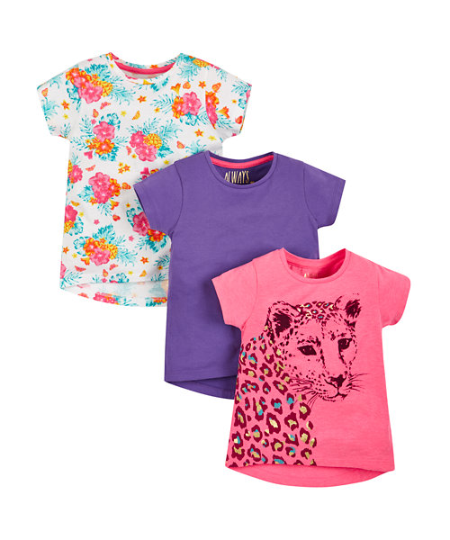 Leopard, Purple and Floral T-Shirts - 3 Pack