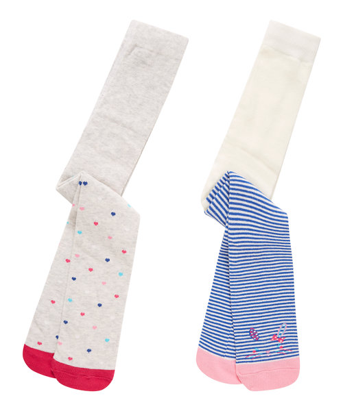 Stripy and Heart Print Tights - 2 Pack