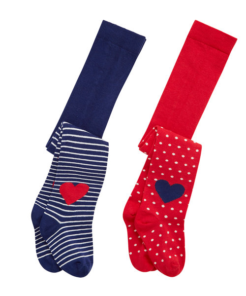 Red and Navy Heart Tights - 2 Pack