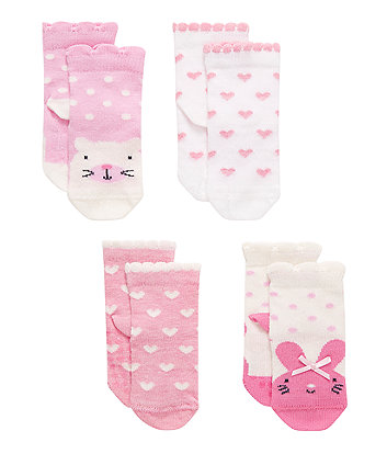 Bunny and Cat Socks - 4 Pack