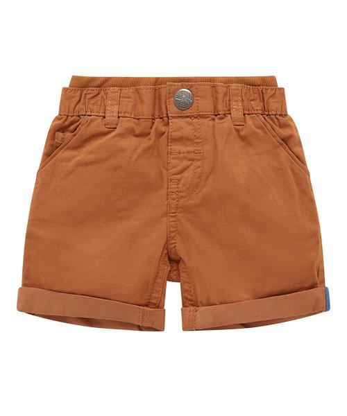 Rib Waist Brown Twill Shorts