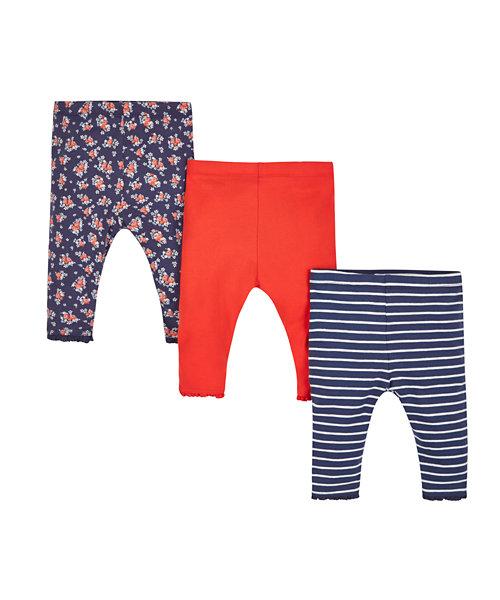Breton Stripe, Floral and Plain Broderie Lace Trim Leggings - 3 Pack