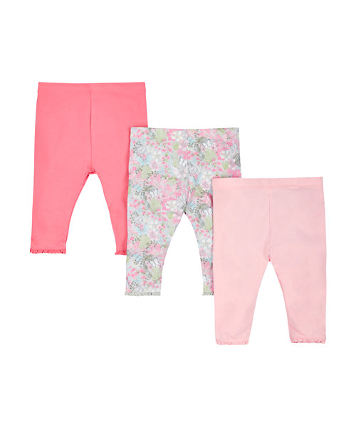 Floral and Pink Leggings with Broderie Trim - 3 Pack