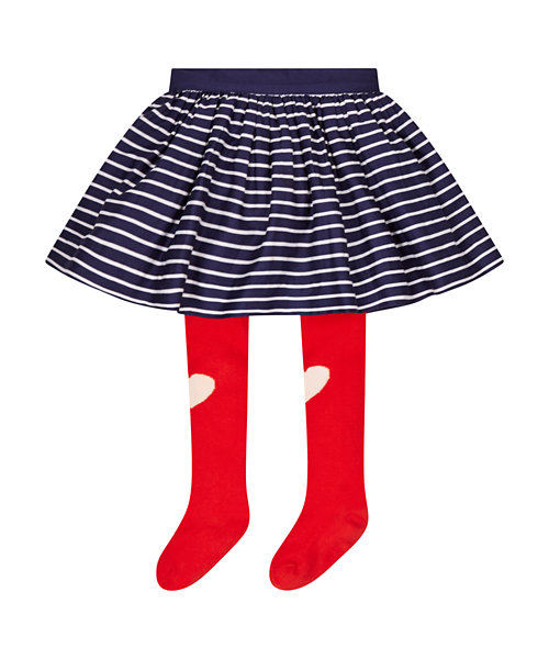 Stripe Skirt with Tights