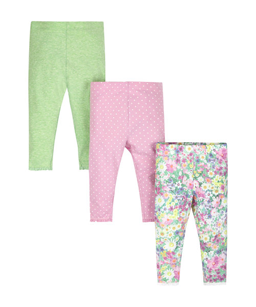 Floral, Green Marl and Pink Spotty Leggings - 3 Pack