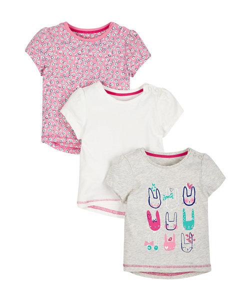 Pink Bunny T-Shirt - 3 pack