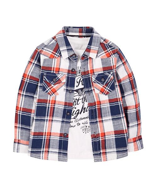 Checked Shirt and T-Shirt Set