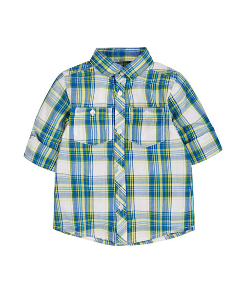 Multi Check Long Sleeve Roll Up Shirt