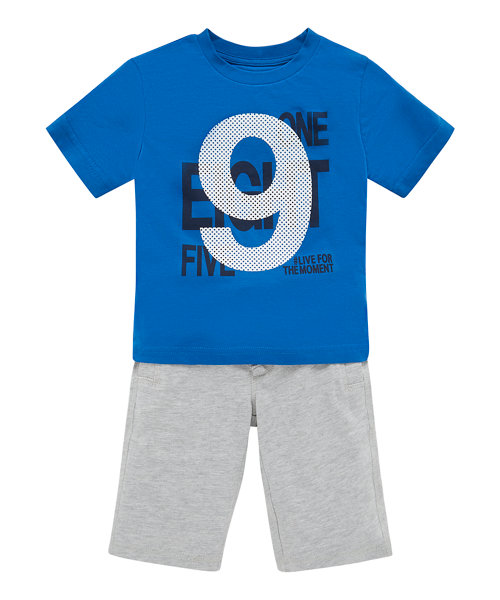 Blue Live For The Moment T-Shirt and Grey Shorts Set