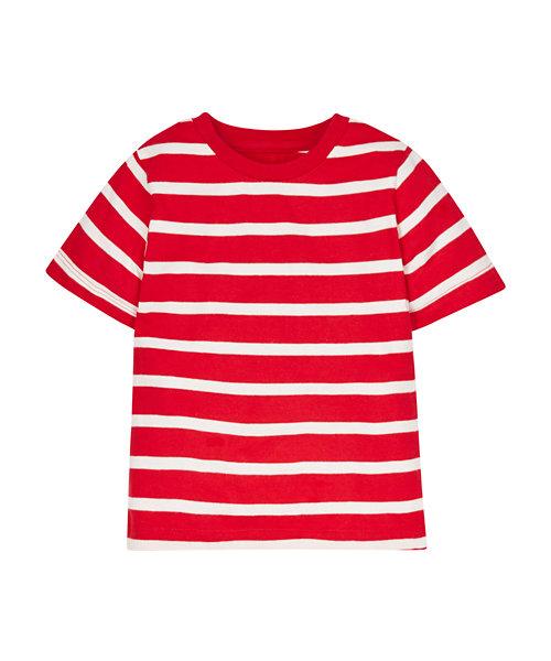 Colour block Red & White Stripe T-Shirt