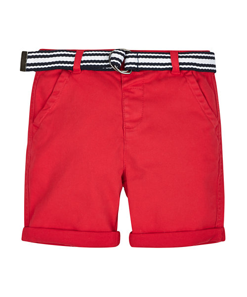 Red Twill Shorts with Belt