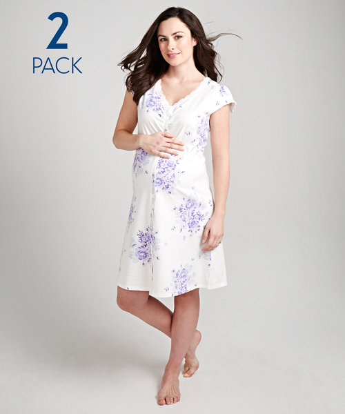 Purple Floral and Striped Maternity Nightdresses - 2 Pack