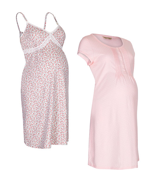 Pink and Floral Maternity Nightdresses - 2 Pack