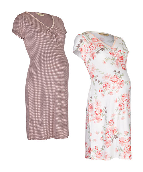 Floral and Spot Print Nursing Nightdresses - 2 Pack