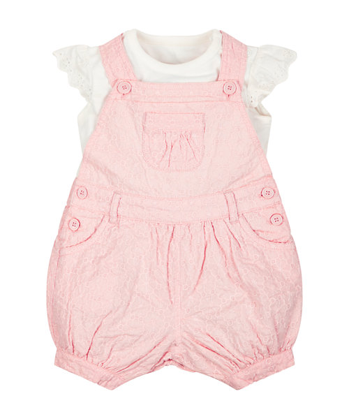 Embroidered Bibshorts and Bodysuit Set