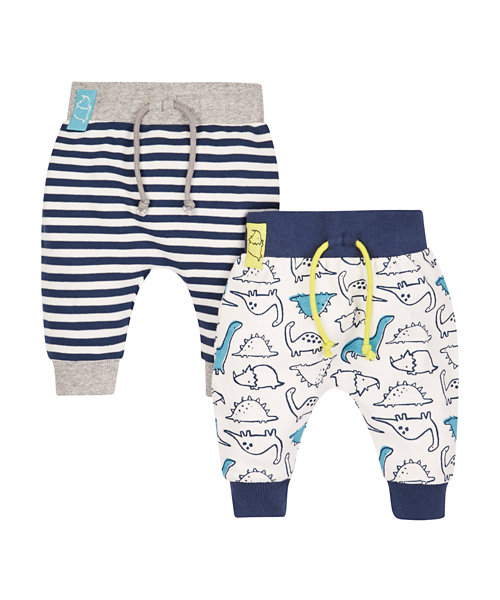 Stripe and Dinosaur Joggers - 2 Pack