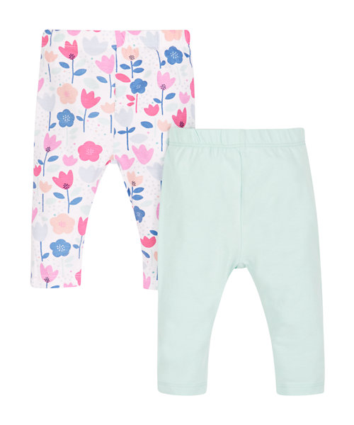 Floral and Mint Leggings - 2 Pack