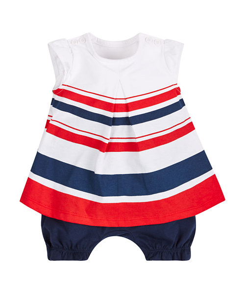 Nautical Striped Romper Dress