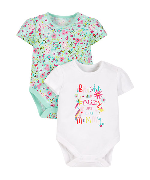 Ditsy Floral Bodysuits - 2 Pack