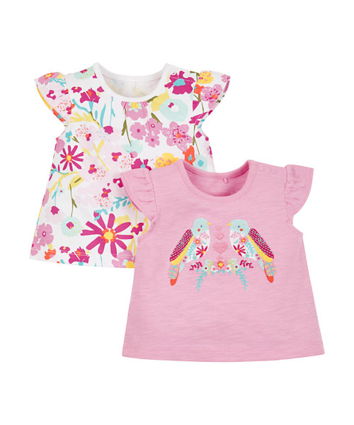 Tropical Floral and Bird T-Shirts - 2 Pack