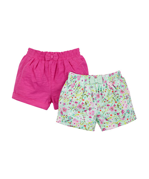 Ditsy Floral and Raspberry Shorts - 2 Pack