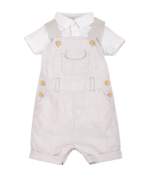 Polo Bodysuit and Striped Bibshorts