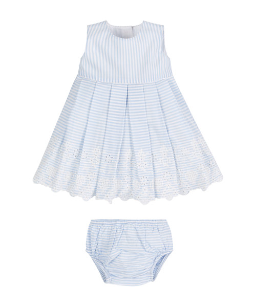 Ticking Stripe Broderie Hem Dress and Knickers