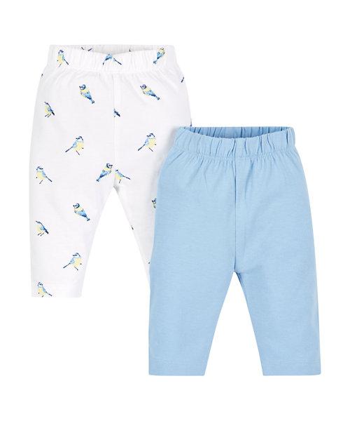 Plain and Bird Print Leggings - 2 Pack