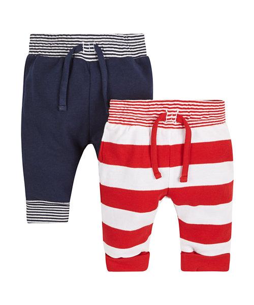 Stripe and Plain Leggings - 2 Pack