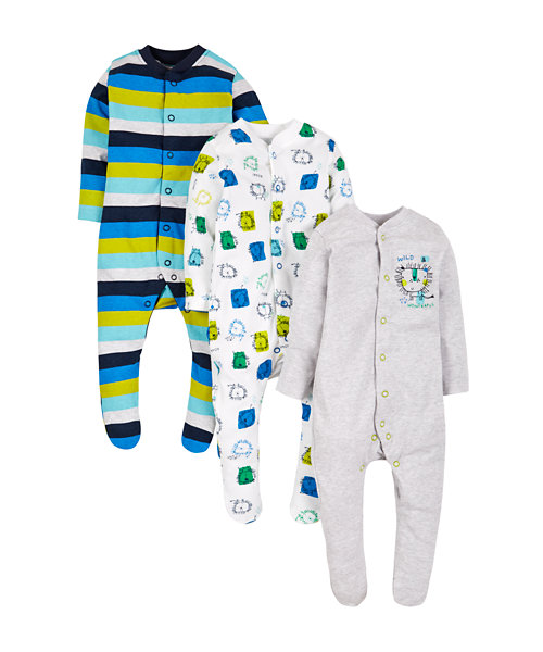 Lion Sleepsuits - 3 Pack