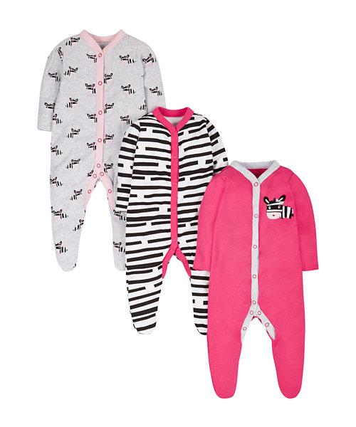 Zebra Sleepsuits - 3 Pack